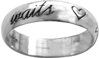 "STERLING SILVER CURSIVE ""true love waits"" WITH HEARTS RING STYLE 833"
