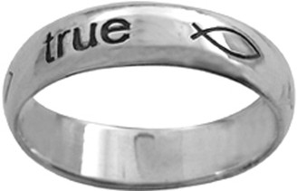"STERLING SILVER ""true love waits"" WITH ICHTHUSES RING STYLE 834"