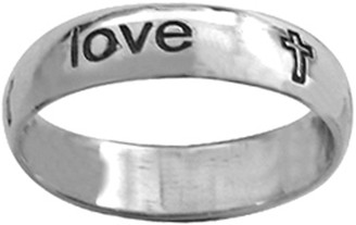 "STERLING SILVER CURSIVE ""true love waits"" WITH CROSSES RING STYLE 835"