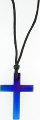 "JUMBO PURPLE LASER COLORED HEMATINE CROSS NECKLACE ON 31"" ADJUSTABLE BLACK CORD"