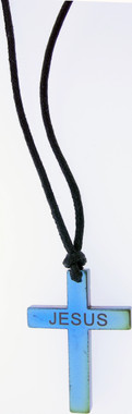 "JUMBO BLUE LASER COLORED HEMATINE CROSS WITH LASER ""JESUS"" NECKLACE ON 31"" ADJUSTABLE BLACK CORD"