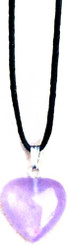 "AMETHYST HEART NECKLACE ON 31"" ADJUSTABLE BLACK CORD-NON-RETURNABLE"