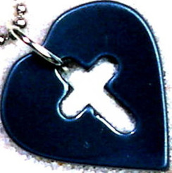 "HEMATITE CROSS/HEART TAG NECKLACE ON 31"" BLACK CORD-NON-RETURNABLE"
