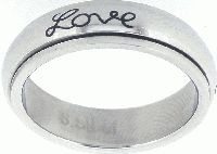 """STAINLESS STEEL """"Faith, Hope, Love"""" CHRISTIAN BIBLE VERSE SPIN RING STYLE 321"""