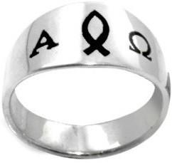 RING STYLE 385 STAINLESS STEEL ENAMELED ICHTHUS/ALPHA & OMEGA RING