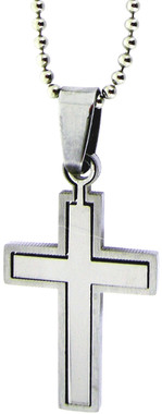 """STAINLESS STEEL SMALL CROSS PUZZLE PENDANT ON 18"""" CHAIN"""