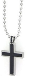 STAINLESS STEEL BLACK AND SILVER PUZZLE CROSS PENDANT ON 2.4MM 18 INCH BALLCHAIN