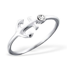 Anchor - 925 Sterling Silver Ring with Crystal