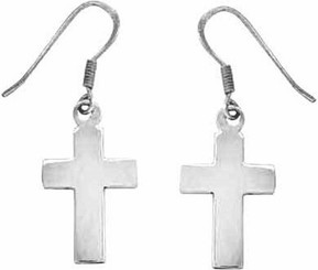 STERLING SILVER MEDIUM CROSS EARRINGS W/STERLING SILVER FRENCH HOOKS
