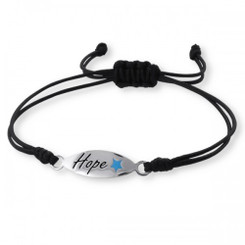 ".925 Sterling Silver ""Hope"" Adjustable Cotton Cord Nylon/Cord Bracelet"