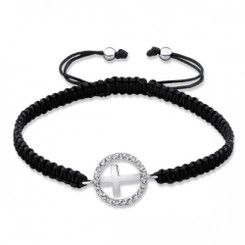 .925 Sterling Silver Circle Cross Adjustable Cotton Cord Nylon/Cord Bracelet