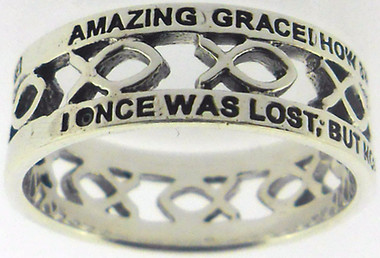 """STERLING SILVER CUTOUT """"AMAZING GRACE"""" JESUS ICHTHUS (FISH) CHRISTIAN RING STYLE 837."""