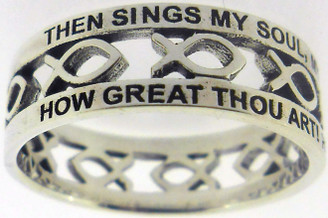 "STERLING SILVER CUTOUT ""HOW GREAT THOU ART"" JESUS ICHTHUS (FISH) CHRISTIAN RING STYLE 839"