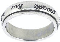 "STAINLESS STEEL ""I will wait for my beloved"" PURITY SPIN RING STYLE 323"