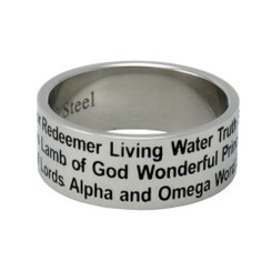STAINLESS STEEL NAMES OF JESUS RING STYLE 324