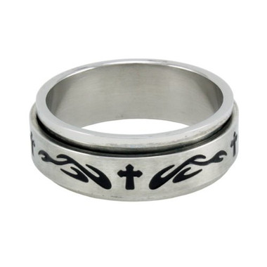 RING STYLE 334 STAINLESS STEEL CROSS WITH FLAMES SPIN RING