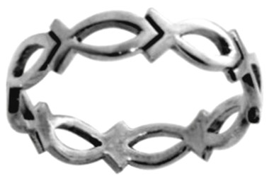 RING STYLE 439 STERLING SILVER CUTOUT CHAIN OF ICHTHUS (FISH) CHRISTIAN RING