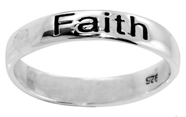 """STERLING SILVER OXIDIZED """"Faith, Hope, Love"""" CHRISTIAN BIBLE VERSE 1 Corinthians 13:13 RING STYLE 807"""