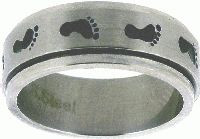 RING STYLE 330 STAINLESS STEEL CHRISTIAN FOOTPRINT SPIN RING