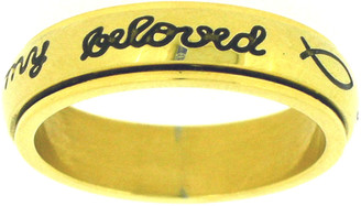 "STAINLESS STEEL GOLD ""I will wait for my beloved"" PURITY SPIN RING STYLE 362"