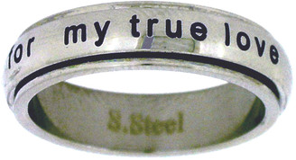 """STAINLESS STEEL """"I will wait for my true love"""" CHRISTIAN PURITY SPIN RING STYLE 365"""