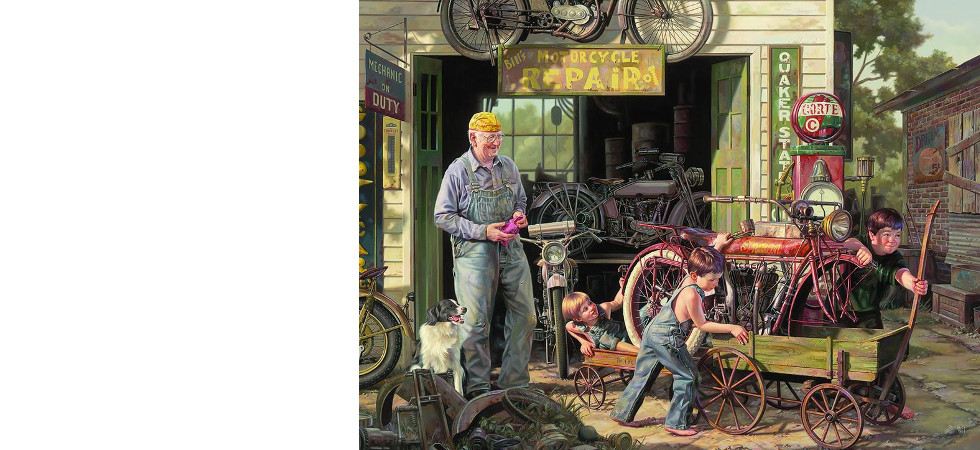 The gift of an old motorcycle to young boys
