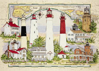 A wonderful collage of New Jersey Lighthouses with a nautical chart background is a fun jigsaw puzzle.