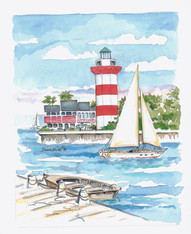 A beautifully illustrated scene of the Hilton Head lighthouse and sailboat in the harbor!