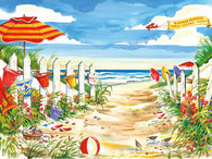 It's Beach Time with a beautifully illustrated scene of the beach, sand buckets, umbrellas, and the ocean!
