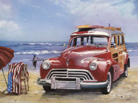 A beautifully illustrated scene of a surfin 'Woody' parked on the beach along with a beach umbrella!