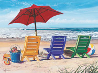 A beautiful illustration of 'Beachy Keen', a beach scene with lounge chairs and umbrellas!