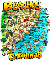 A fun illustration of the Beaches of the Carolinas!