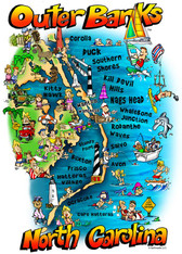 A fun illustration of the Beaches of the Outer Banks!