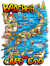 A fun illustration of the Beaches of Cape Cod!