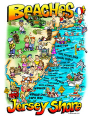 A fun illustration of the Beaches of Jersey Shore!