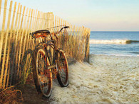 A beautiful illustration of the bicycle against a fence at the beach!