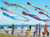 A beautiful colorful scene of unusual wind socks blowing in the wind!