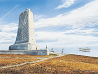 A beautiful illustration of the Wright Brothers Memorial!