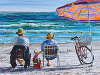 A beautiful illustration of 'Idle Time' and relaxing on the beach with chairs and umbrella!