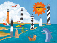 A beautiful illustration of several lighthouses!