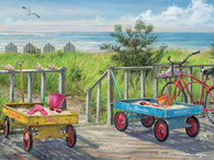 "Beach Buddies / Mangum Jigsaw Puzzle  These Beach Buddies are set for a day of fun at the beach.  A great puzzle to enjoy on your family vacation or when you return for a great vacation memory! This is a 550 piece puzzle and is 24"" x 18"". These beautifully illustrated jigsaw puzzles are perfect for passing the time on a lazy afternoon. They also make great gifts for kids and adults alike!"