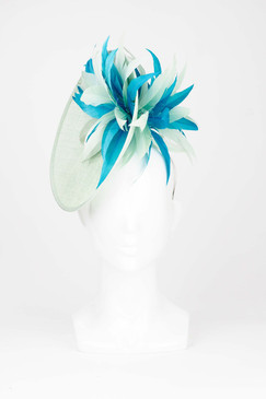 Angled Plate Headpiece with Tonal Aqua Feather Burst by Fiona Powell