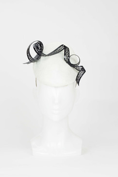 White Parasisal Percher Headpiece with Black Ribbon Swirl by Lady of Leisure Millinery