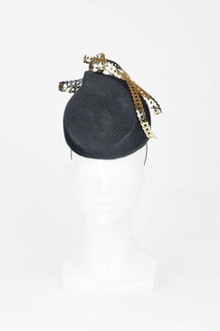 Black Parasisal Percher Headpiece with Gold Ribbon Swirl by Lady of Leisure Millinery