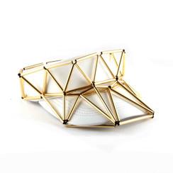 Geo Visor in Gold & White Leather by WXYZ Jewelry