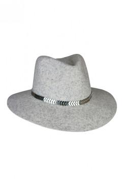 Giulia - Grey Wool Felt Fedora with Silver Olive Leaf/Fish Scale Decorative Hat Band by Morgan & Taylor