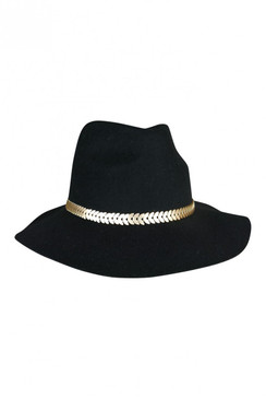 Giulia - Black Wool Felt Fedora with Silver Olive Leaf/Fish Scale decorative hat band from Morgan & Taylor