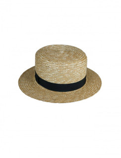 Hamilton - Short Brim Straw Boater Hat with Black Band by Ace of Something