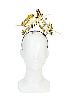 Gold Metallic Floating Feather Headband by Love Lotus