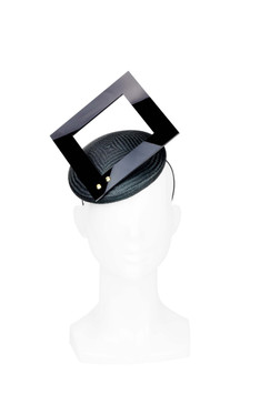 Mod Square - Black Straw and Black Perspex Square Cut Out Headpiece by Ford Millinery